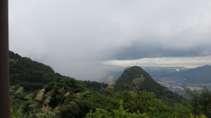 Storm rolling out over the valley overlooking Yuen Long