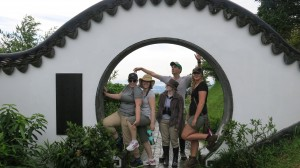 The gang at the entrance to the Kadoorie Brothers Memorial Pavilion