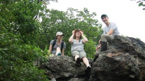 Karlie, Krist and Zack adventuring at the Kwun Yum Shan summit at the top of Kadoorie Mountain - properly known as Tai Mo Shan (literally, Big Hat Mountain).